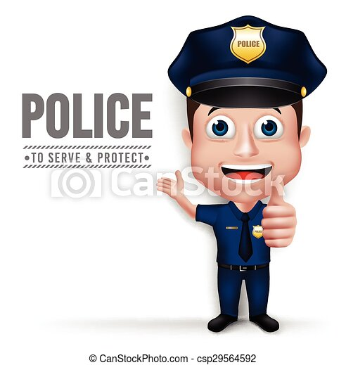 3D Realistic Police Man Character  - csp29564592