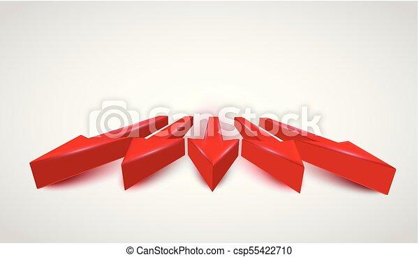 3D realistic red arrows, vector - csp55422710