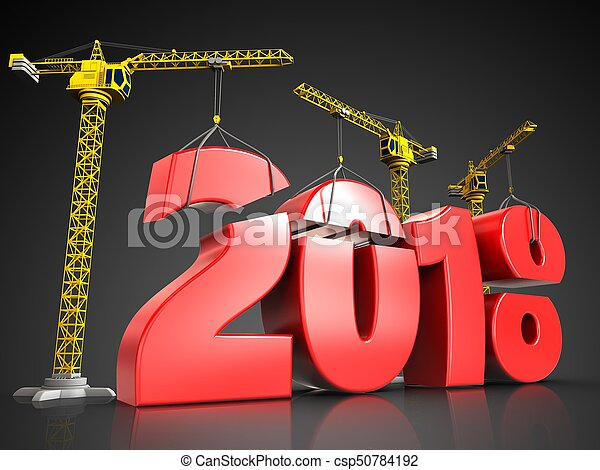3d red 2018 year sign - csp50784192