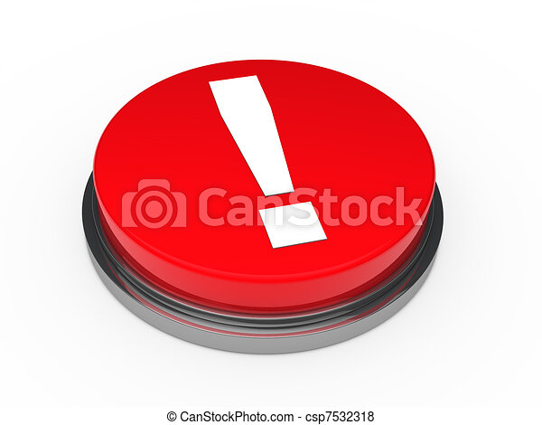 3d red button exclamation mark  - csp7532318