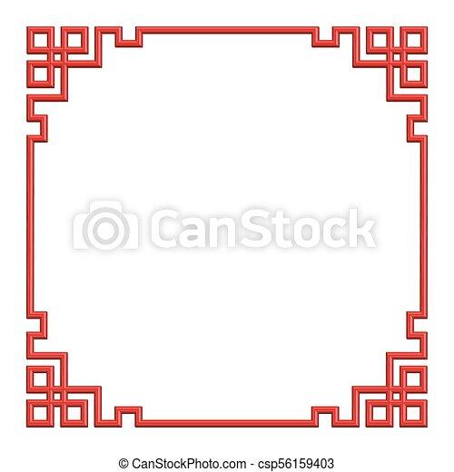 3D red chinese pattern border frame, illustration - csp56159403