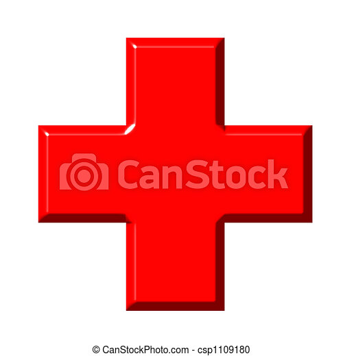 3D Red Cross - csp1109180