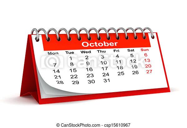 3d red desk paper 2013 year calendar month of october