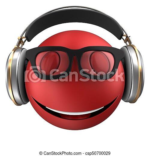 3d red emoticon smile - csp50700029