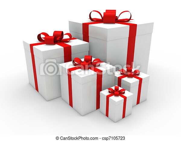 3d red gift box christmas - csp7105723