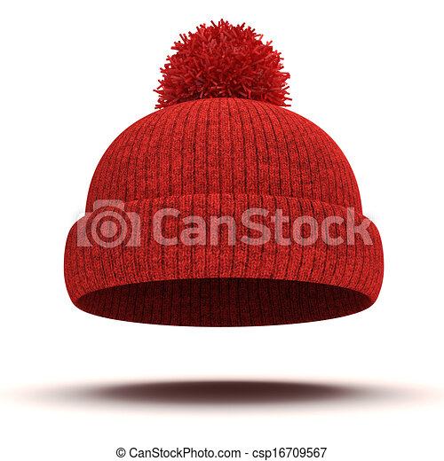 3d red knitted winter cap on white background rh canstockphoto com red hat ladies clipart red cowboy hat clipart