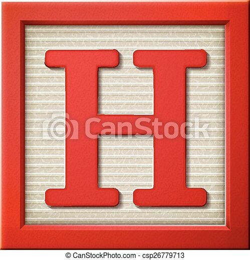 3d red letter block H  - csp26779713