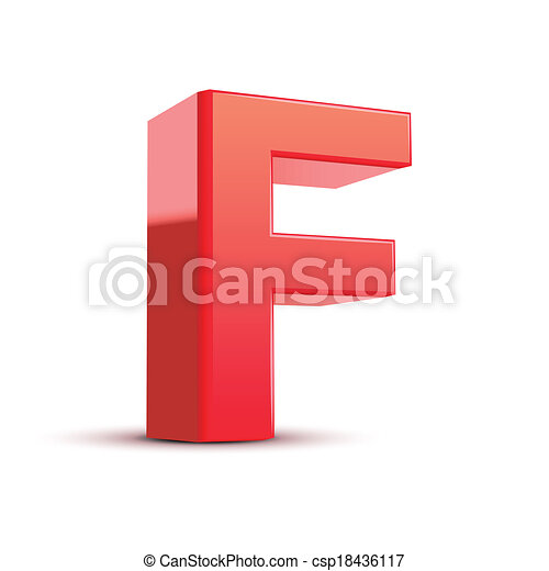 3d red letter F - csp18436117