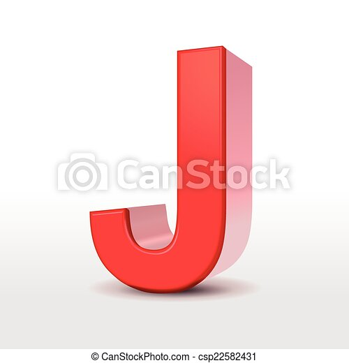 3d Red Letter J Isolated On White Background
