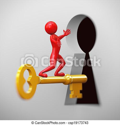 3d red man riding on golden key - csp19173743