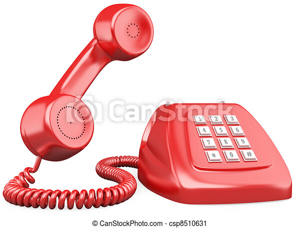 3D red old fashioned style telephone - csp8510631