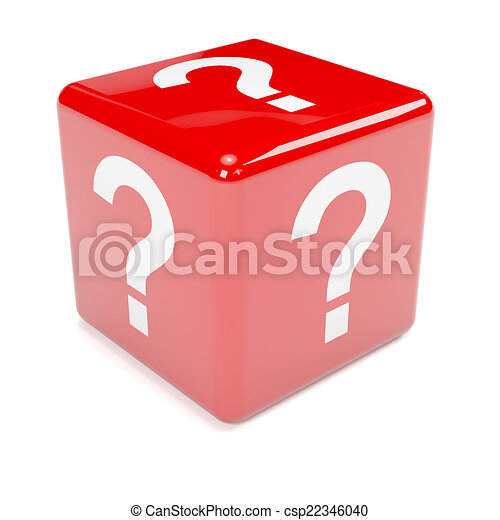 3d Red question mark dice - csp22346040