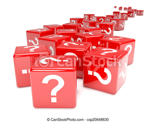 3d Red question mark dice - csp20648630