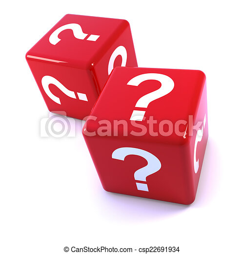 3d Red question mark dice - csp22691934