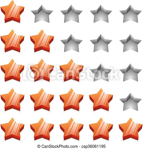 3D red ranking stars vector template isolated on white background. - csp36061195