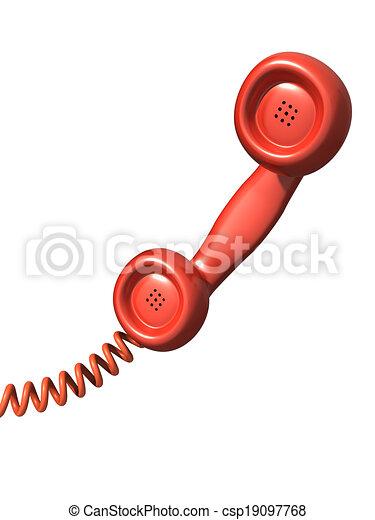 3d Red telephone handset - csp19097768