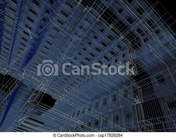 3d render abstract modern architecture background - csp17828284