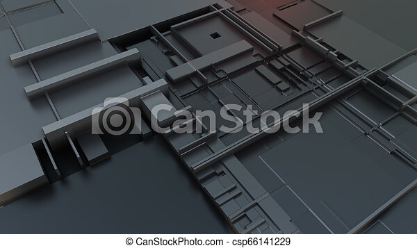 3d render Abstract Technology Background With Cubes - csp66141229