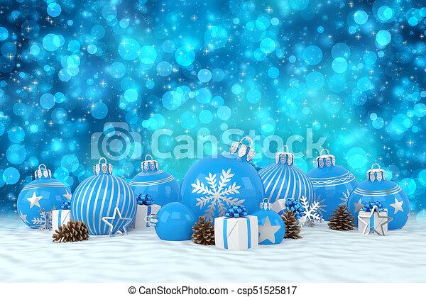Christmas In Australia Background.3d Render Blue Christmas Baubles Over Bokeh Background