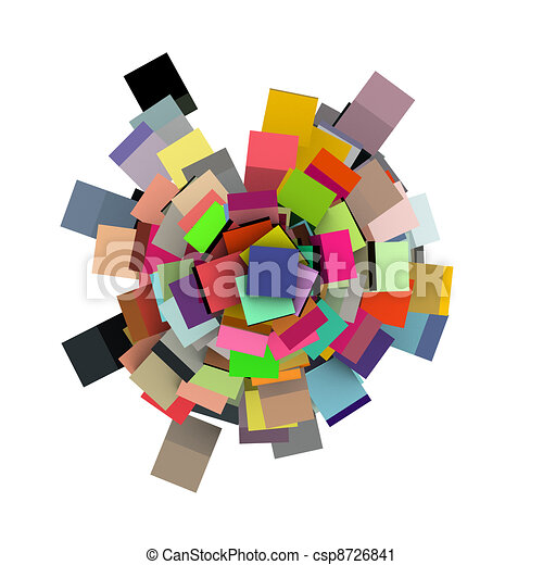 3d render concentric cubes in multiple colors on white - csp8726841