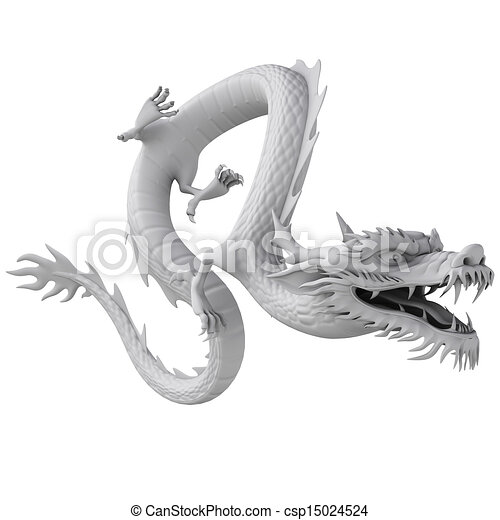 3d render dragon clay texture - csp15024524