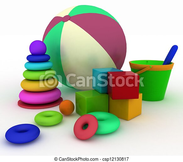 3d render illustration of child's toys. Ball, blocks, pyramid, bucket with a shoulder-blade. - csp12130817