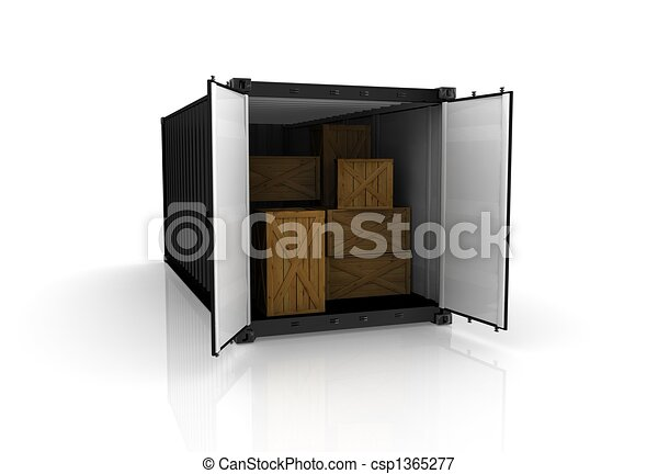 3D render of a freight container on white background - csp1365277