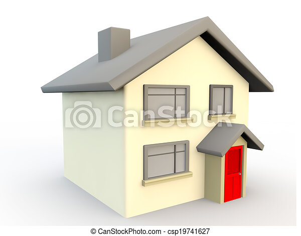 3d Render Of A House As A Simple Symbol Or Icon   Csp19741627