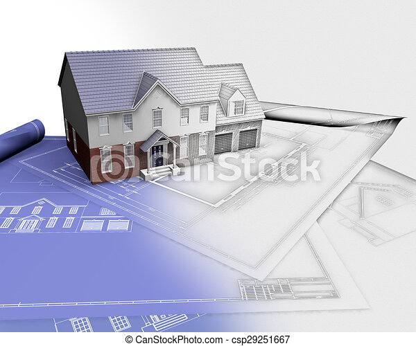 3D render of a house on blueprints with half in sketch phase - csp29251667