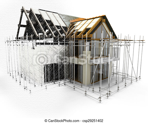 3D render of a house with scaffolding with half in sketch phase - csp29251402