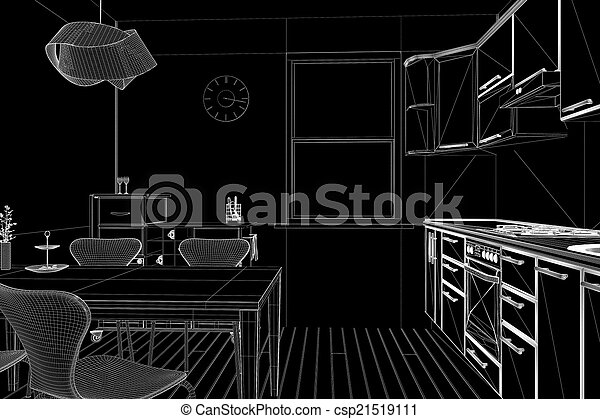 3D render of a kitchen in wireframe - csp21519111