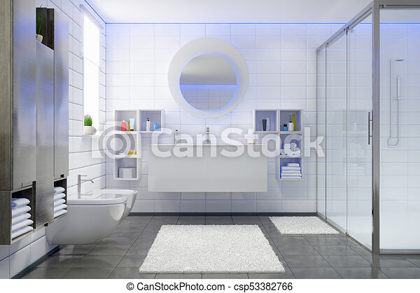 D render of a modern bathroom in white and black with shower