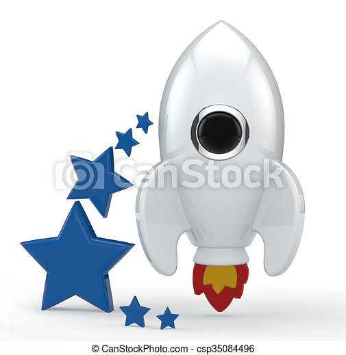3d Render Of A Symbolic White Rocket With Flames 3d Render Of A