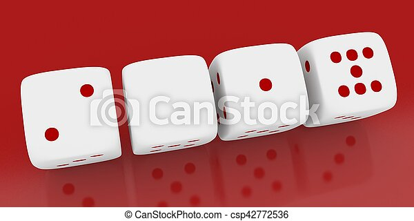3d render of a white dice on red background,2017 - csp42772536