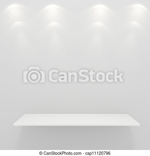 3d render of an empty presentation shelf - csp11120796