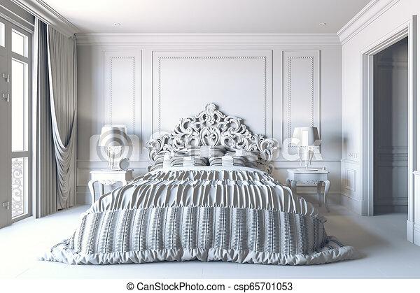 3d Render Of Beautiful Classic Bedroom Interior Canstock
