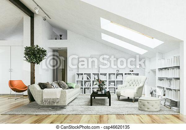 3d render of beautiful interior room - csp46620135
