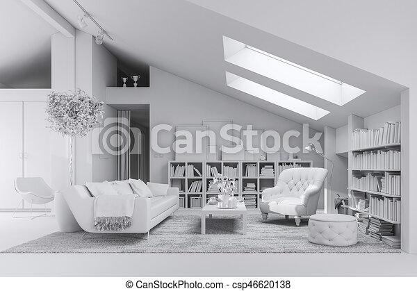 3d render of beautiful interior room - csp46620138