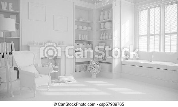 3d render of beautiful interior room - csp57989765