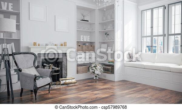 3d render of beautiful interior room - csp57989768