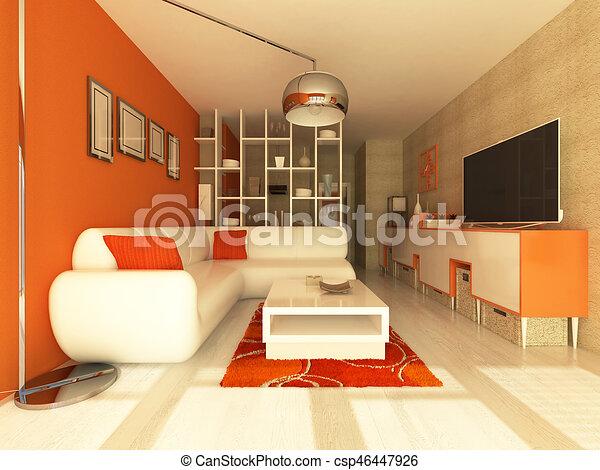 3d render of beautiful Living room with orange walls