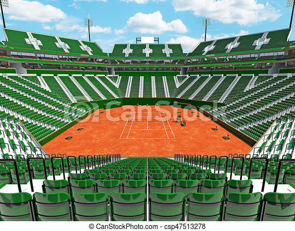 3D Render Of Beautiful Modern Tennis Clay Court Stadium With Green Chairs    Csp47513278
