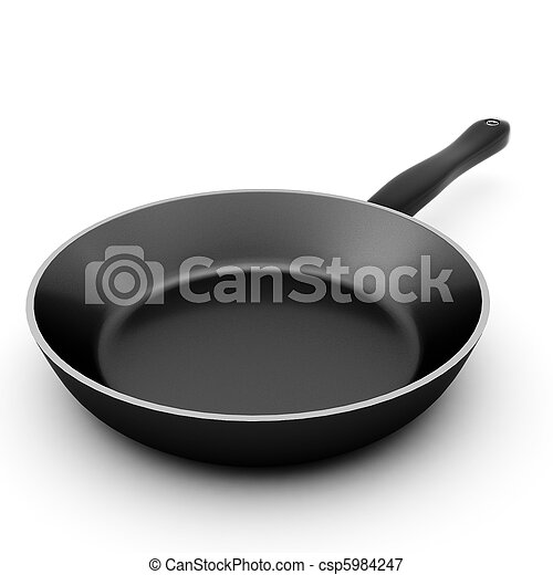 3d render of black pan on white - csp5984247