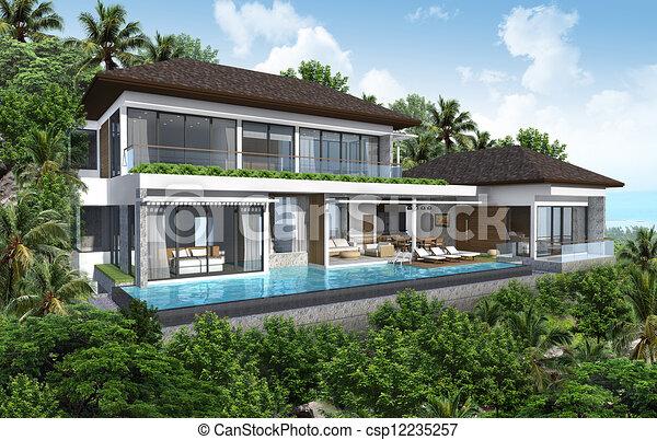 Incroyable 3d Render Of Building Tropical Hous   Csp12235257