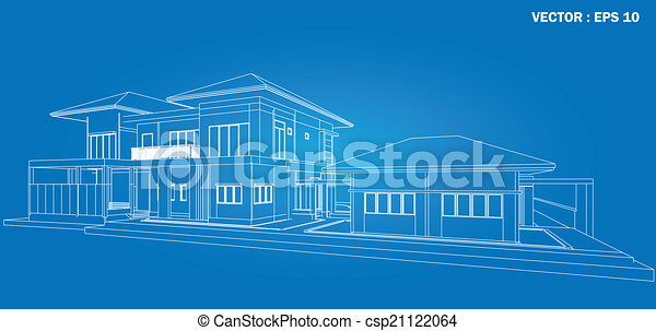 3D render of building wireframe  - csp21122064