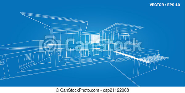 3D render of building wireframe  - csp21122068
