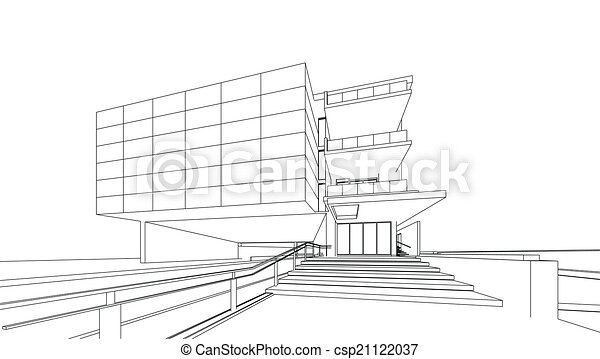 3D render of building wireframe  - csp21122037