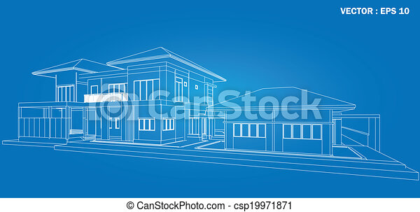 3D render of building wireframe  - csp19971871