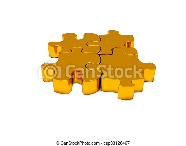3d render of business connection connected gold puzzle pieces