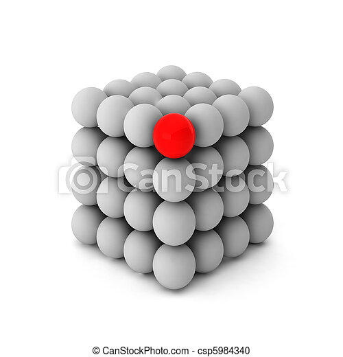 3d render of cube with one unique ball - csp5984340
